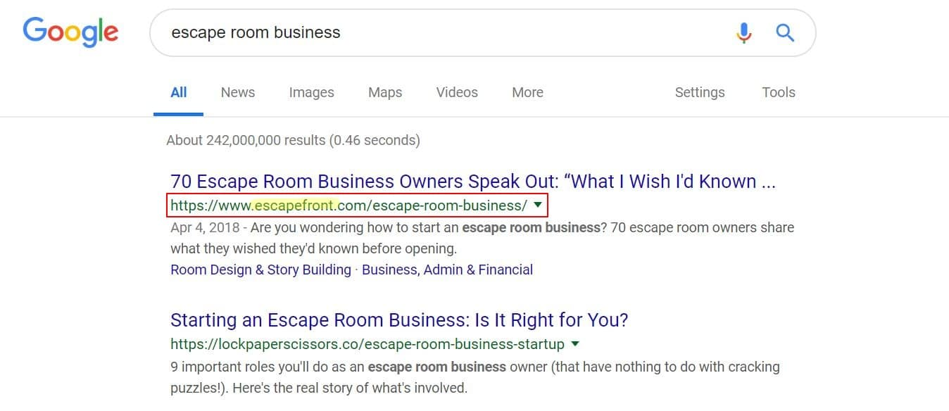 escape room business search