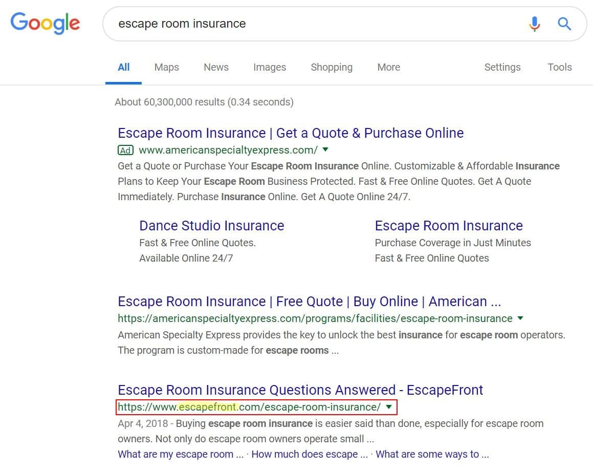 escape room insurance search