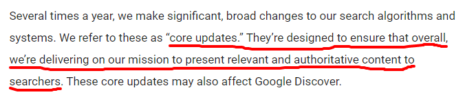 google core update - designed to ensure searchers get relevant and authoritative content